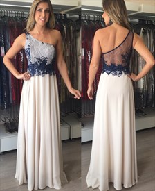 Illusion One Shoulder A-Line Sheer Back Applique Chiffon Prom Dress