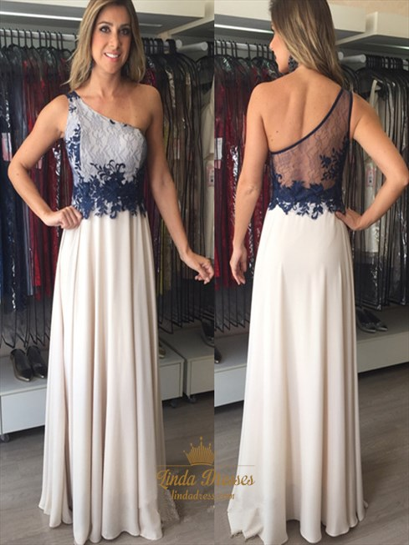 Illusion One Shoulder A-Line Sheer Back Applique Chiffon Prom Dress