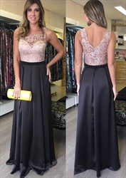 Floor-Length Sleeveless A-Line Satin Evening Dress With Lace Bodice
