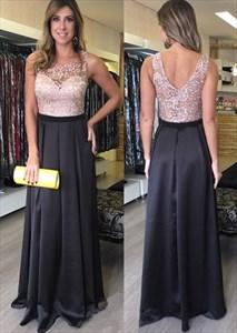 Floor-Length Sleeveless A-Line Satin Evening Dress With Lace Bodice
