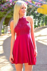Cute Fuchsia A-Line Halter Lace Bodice Short Chiffon Homecoming Dress