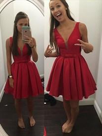 Lovely Short Sleeveless V-Neck Ruched Skirt A-Line Homecoming Dress