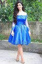 Royal Blue Off Shoulder Long Sleeve Short Homecoming Dress With Lace