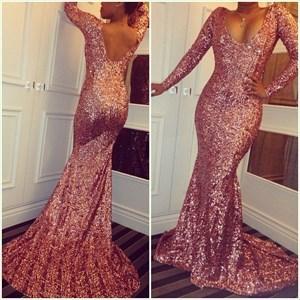 Pink Sequin Long Sleeve Deep V-Neck Mermaid Floor Length Prom Dress