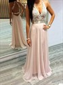 Show details for Light Pink Chiffon Sleeveless A-Line Long Prom Dress With Lace Bodice