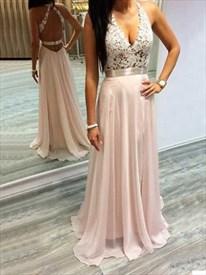 Light Pink Chiffon Sleeveless A-Line Long Prom Dress With Lace Bodice