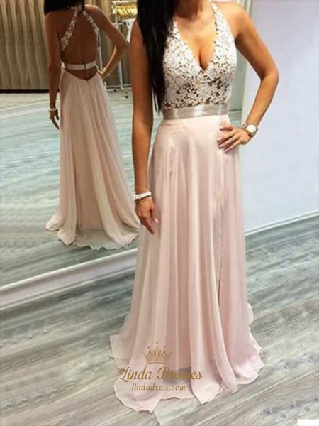 Light Pink Chiffon Sleeveless A-Line Long Prom Dress With Lace Bodice
