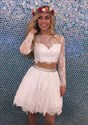 Show details for Illusion Long Sleeve Two Piece A-Line Lace-Overlay Homecoming Dress