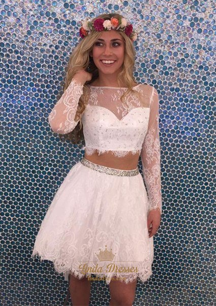 Illusion Long Sleeve Two Piece A-Line Lace-Overlay Homecoming Dress