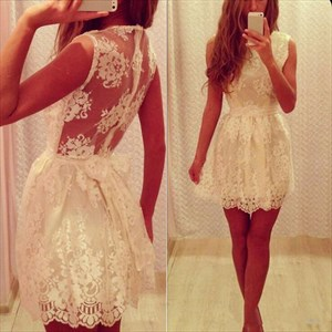 Short A-Line Sleeveless Lace Homecoming Mini Dress With Illusion Back