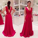 Show details for Red Sleeveless V-Neck Ruched Chiffon A-Line Prom Dress With Open Back