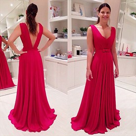 Red Sleeveless V-Neck Ruched Chiffon A-Line Prom Dress With Open Back