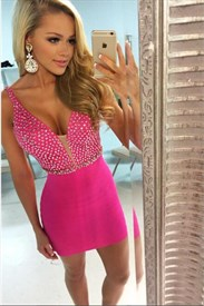Hot Pink Sleeveless V-Neck Beaded Bodice Short Sheath Homecoming Dress