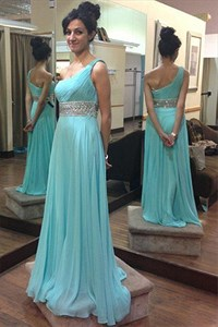 One Shoulder Ruched Chiffon Beaded Empire Waist A-Line Long Prom Dress