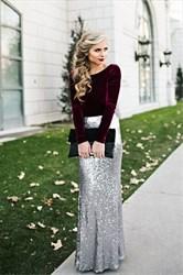 Floor-Length Elegant Long Sleeve Sequin Skirt Sheath Evening Dress
