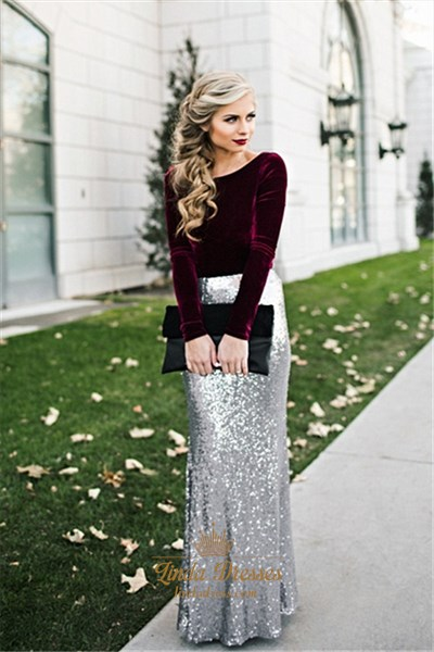 Floor-Length Elegant Long Sleeve Sequin Skirt Sheath Evening Dress