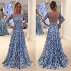 Long Sleeve Backless A-Line Lace-Overlay Floor-Length Formal Dress
