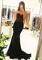 Show details for Black Illusion Strapless Sweetheart Mermaid Floor-Length Prom Dress