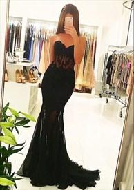 Black Illusion Strapless Sweetheart Mermaid Floor-Length Prom Dress
