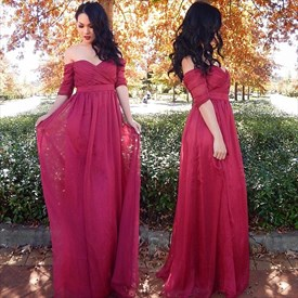 A-Line Off-The-Shoulder Half Sleeve Empire Waist Chiffon Evening Dress