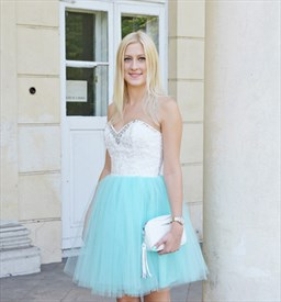 Short Strapless Beaded Neckline A-Line Tulle Skirt Homecoming Dress