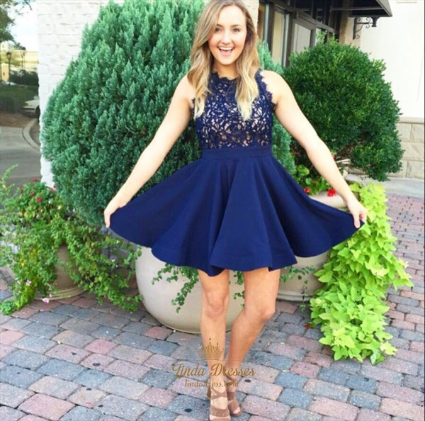 Show details for Navy Blue Short Sleeveless A-Line Lace Bodice Chiffon Homecoming Dress