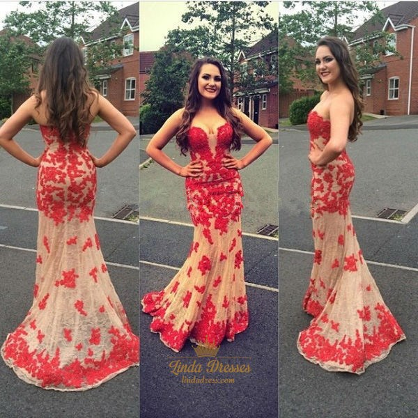 Strapless Floor-Length Red Lace Applique Embellished Mermaid Prom Gown