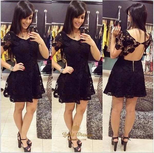 Short Sleeve Illusion Lace A-Line Little Black Dress With Open Back