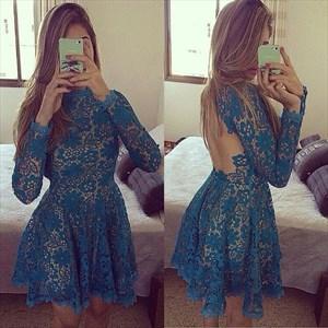 Long Sleeve A-Line Knee Length Lace Homecoming Dress With Keyhole Back