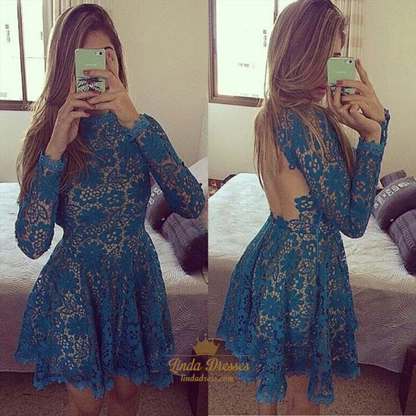 Long Sleeve A-Line Knee Length Lace Homecoming Dress With Keyhole Back