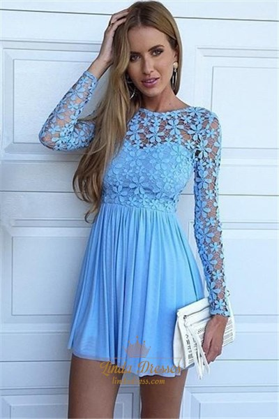 Light Blue Long Sleeve Lace Bodice A-Line Chiffon Homecoming Dress