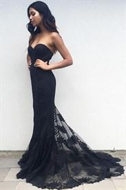 Elegant Black Strapless Sweetheart Lace Embellished Mermaid Prom Dress