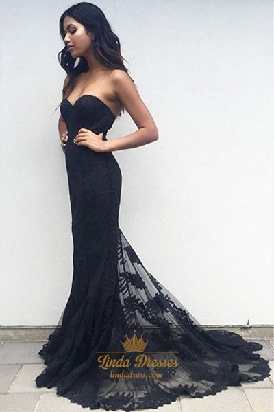 Show details for Elegant Black Strapless Sweetheart Lace Embellished Mermaid Prom Dress