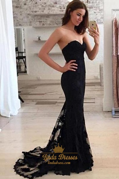 Elegant Black Strapless Sweetheart Lace Embellished Mermaid Prom Dress