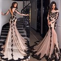 Long Sleeve Lace Embellished Chiffon Sheer Evening Dress With Train
