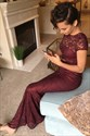 Ankle Length Two Piece Burgundy Lace Cap Sleeve Sheath Evening Dress