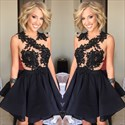 Show details for Black Sleeveless Lace Embellished Homecoming Dress With Keyhole Back