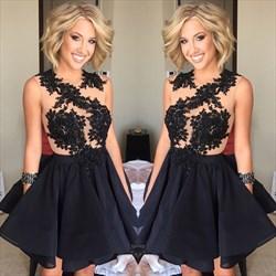 Black Sleeveless Lace Embellished Homecoming Dress With Keyhole Back