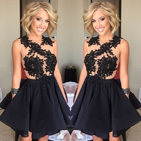 Black Sleeveless Lace Embellished Homecoming Dress With Keyhole Back