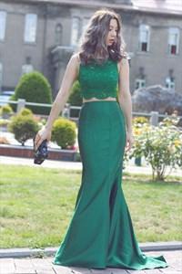 Elegant Emerald Green Two Piece Sleeveless Lace Top Mermaid Prom Dress