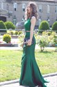 Show details for Elegant Emerald Green Two Piece Sleeveless Lace Top Mermaid Prom Dress