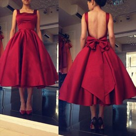 Sleeveless Backless Square Neck Tea Length Homecoming Dress With Bow