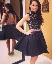 Black Sleeveless High-Neck A-Line Homecoming Dress With Keyhole Back