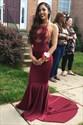 Sheer Burgundy Halter Floor-Length Evening Dress With Lace Embellished