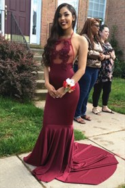 Sheer Burgundy Halter Floor-Length Evening Dress With Lace Embellished