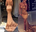 Champagne Off-The-Shoulder Mermaid Long Evening Dress With Front Slit