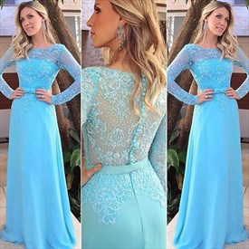 Illusion Lace Bodice Chiffon Floor Length Prom Dress With Long Sleeves
