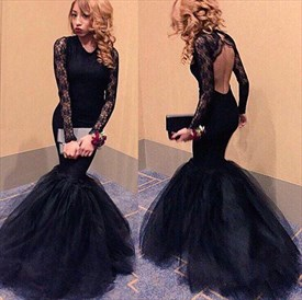 Elegant Black Long Sleeve Tulle Mermaid Prom Dress With Keyhole Back