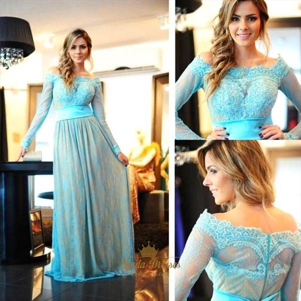 A-Line Off Shoulder Long Sleeve Lace Overlay Floor-Length Prom Dress