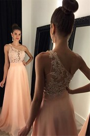 Pale Pink One Shoulder Sleeveless A-Line Floor-Length Evening Dress